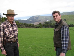 Fifth generation Jonkers on the farm, Greg with his Grandfather & teacher, Artie Jonkers.